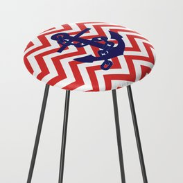 Blue Anchor on Red and White Chevron Pattern Counter Stool