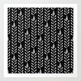 Monochrome banksia pattern Art Print