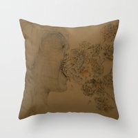 hiccup Throw Pillows featuring The Marigold Hiccup by Raimydays