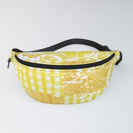 Yellow and white citrus plaid floral patchwork Fanny Pack