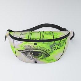 Hamsa Horus Eye Lime Green Marble Fanny Pack
