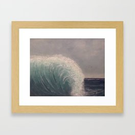 Waterfall Wave - original art textured painting by Tracy Sayers Trombetta Framed Art Print