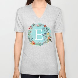 Personalized Monogram Initial Letter E Blue Watercolor Flower Wreath Artwork Unisex V-Neck