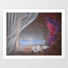 WINDOW VIEWS Ocean Flowers Art Print