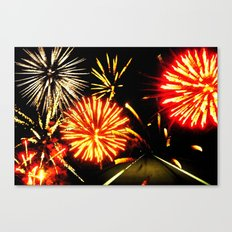 Fireworks on a Highway Canvas Print