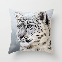 snow leopard Throw Pillows featuring Snow Leopard by Aaron Jason