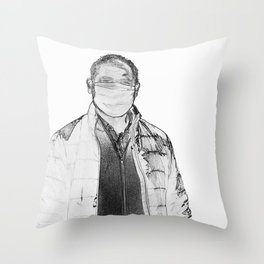 Portrait of sick man wearing protective mask Throw Pillow