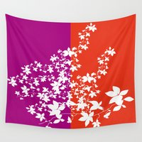 climbing Wall Tapestries featuring Climbing Flowers by Mari Biro