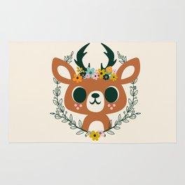 Deer with Flowers / Cute Animal Rug