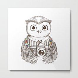 Drawing owl with camera Metal Print