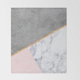 Marble Blush Gold gray Geometric Throw Blanket