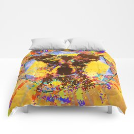 Jack Russell Terrier Abstract Mixed Media Comforters
