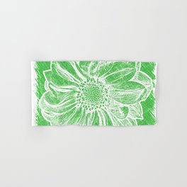 White Flower On Tech Green Crayon Hand & Bath Towel