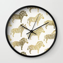 Golden Zebras Wall Clock