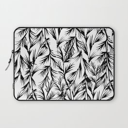 Tropical black white floral leaves pattern Laptop Sleeve