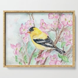 Goldfinch and Dogwood Flowers Serving Tray