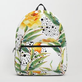 Canaries between plants and yellow flowers Backpack
