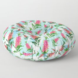 Beautiful Pink Australian Natives on Blue Geometric Background Floor Pillow