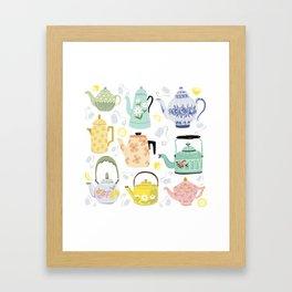 Vintage Teapots Framed Art Print