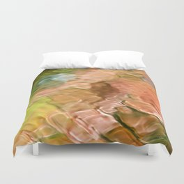 Coral Mosaic Abstract Art Duvet Cover