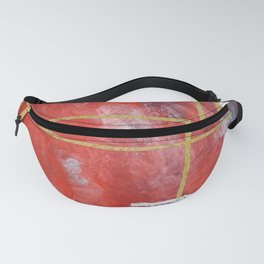 Reckless Abandon: a vibrant abstract mixed-media piece in red and gold by Alyssa Hamilton Art Fanny Pack
