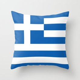 Flag of Greece, High Quality image Throw Pillow