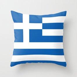 Flag of Greece, High Quality image Throw Pillow