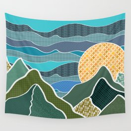 Digitally Quilted Mountains Wall Tapestry