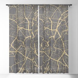 BIRMINGHAM ENGLAND GOLD ON BLACK CITY MAP Sheer Curtain