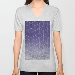 Geometric Marble Ultraviolet Purple Gold Unisex V-Neck