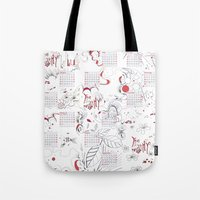 calendar Tote Bags featuring Calendar mess by Dreamy Me