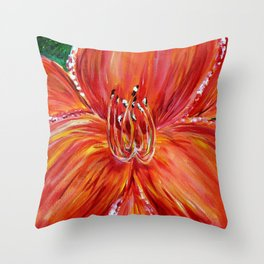 Coral and Pink Daylily Throw Pillow