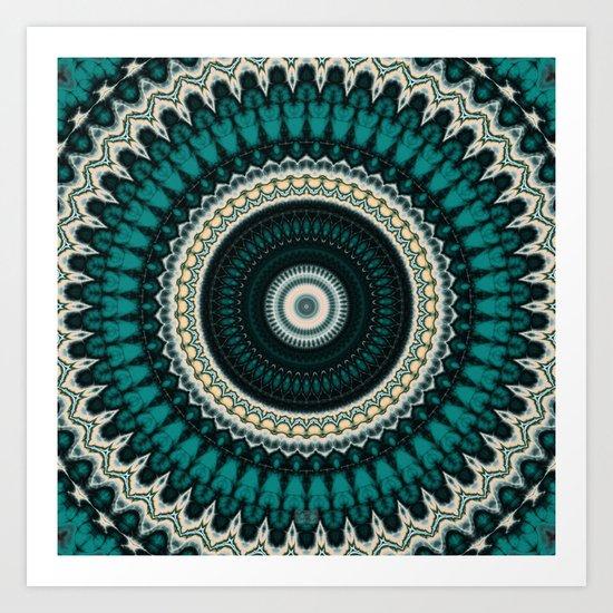 Mandala Fractal in Teal Study 01 Art Print