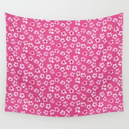 Loose pink flowers in hot pink background Wall Tapestry
