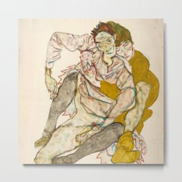 "Egon Schiele ""Seated Couple"" Metal Print"