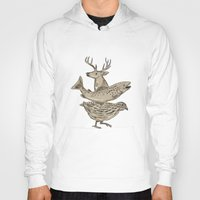 trout Hoodies featuring Deer Trout Quail Drawing by patrimonio