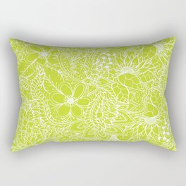 Modern white hand drawn floral lace illustration on lime green punch Rectangular Pillow