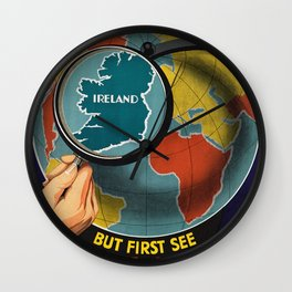 Vintage Travel Poster - Ireland Wall Clock
