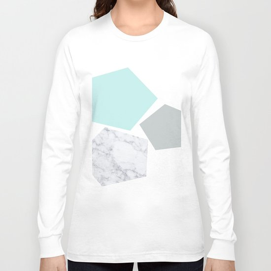 Geo marble and turquoise Long Sleeve T-shirt