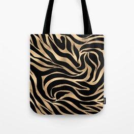 Elegant Metallic Gold Zebra Black Animal Print Tote Bag