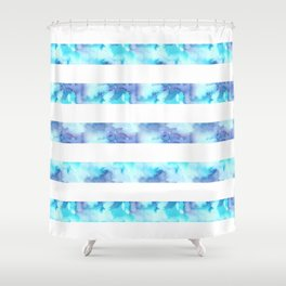 Blue & Purple Watercolor Stripes Shower Curtain