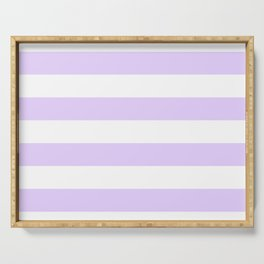 Chalky Pale Lilac Pastel and White Cabana Tent Stripes Serving Tray