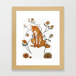 Coyote with flowers Framed Art Print