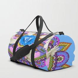 BLUE CHAKRA MANDALA WITH WHITE DOVES& PURPLE-GREY ART Duffle Bag