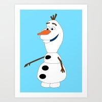olaf Art Prints featuring Olaf by Dewdroplet