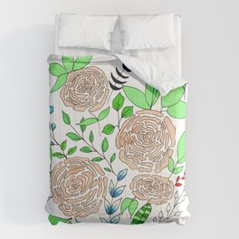 Coral + Mint // Floral Pattern Comforters