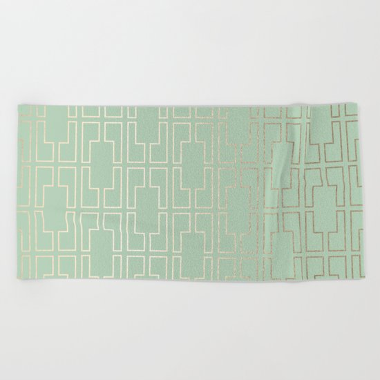 Simply Mid-Century in White Gold Sands and Pastel Cactus Green Beach Towel