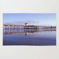1984 Area & Throw Rugs featuring Huntington Beach Pier * 1984 by John Lyman Photos