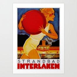 Vintage Interlaken Switzerland Travel Art Print