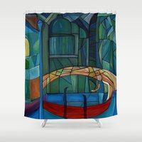 venice Shower Curtains featuring Venice by Noura Bouzo